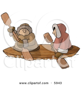 5943-Alaskan-Eskimos-Canoing-Down-A-River-Clipart-Picture